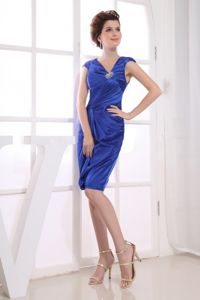 School Anniversary Party Dress Royal Blue with V-neck Knee-length Satin from Boston
